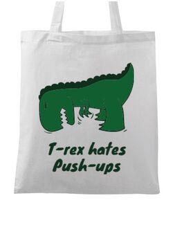 Sacosa din panza T-rex push-ups Alb