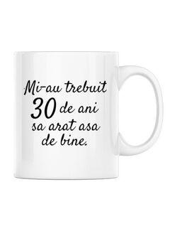 Cana personalizata 30 de ani Alb