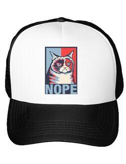 Sapca personalizata Grumpy cat Nope Alb