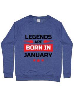 Bluza ADLER barbat Legends are born in January Albastru melanj