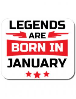 Mousepad personalizat Legends are born in January Alb
