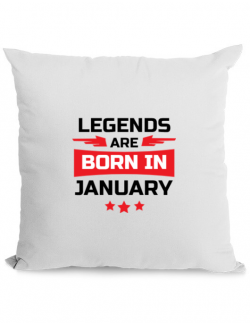 Perna personalizata Legends are born in January Alb