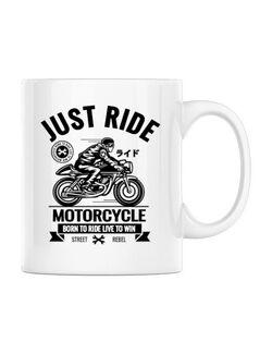 Cana personalizata Just ride Alb