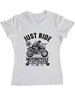 Tricou ADLER dama Just ride Alb