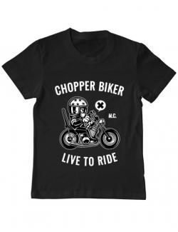 Tricou ADLER copil Chopper biker Negru