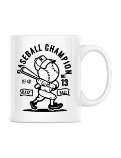 Cana personalizata Baseball Champion Alb