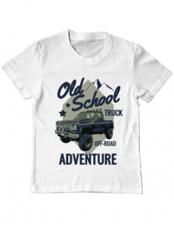 Tricou ADLER copil Off-road truck Alb
