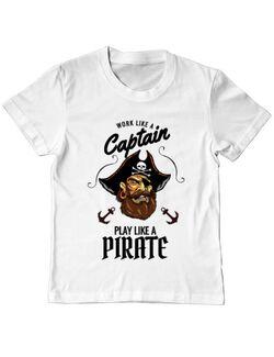 Tricou ADLER copil Play like a pirate Alb