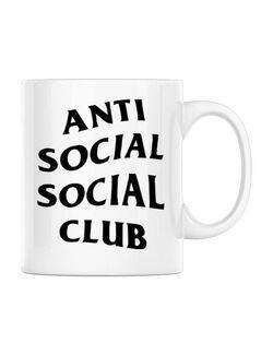 Cana personalizata Anti social Club Alb