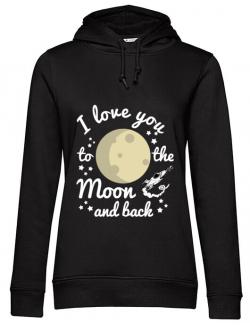 Hoodie dama cu gluga To the moon and back Negru