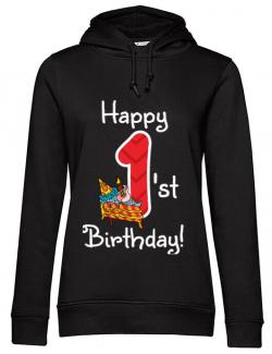 Hoodie dama cu gluga Happy Birthday! Negru