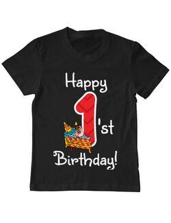 Tricou ADLER copil Happy Birthday! Negru