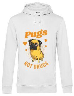 Hoodie barbat cu gluga Pugs not drugs Alb