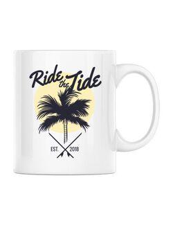 Cana personalizata Ride the tide Alb