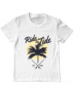 Tricou ADLER copil Ride the tide Alb