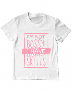 Tricou ADLER copil I'm not bossy Alb