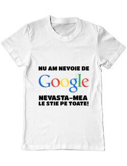 Tricou ADLER barbat Nu am nevoie de google Alb