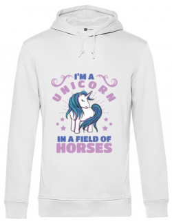 Hoodie barbat cu gluga Just a unicorn Alb