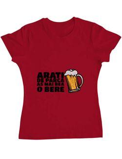 Tricou ADLER dama As mai bea o bere Rosu