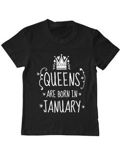 Tricou ADLER copil Queens are born in january Negru