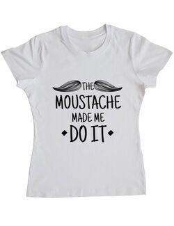 Tricou ADLER dama The moustache Alb