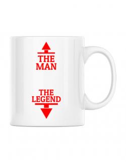 Cana personalizata The man the legend Alb