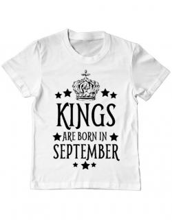 Tricou ADLER copil Kings are born in september Alb