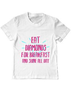 Tricou ADLER copil Eat diamonds Alb
