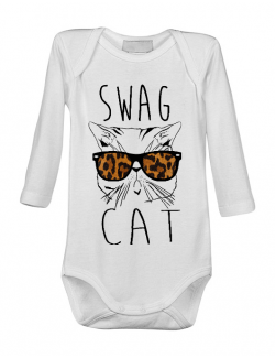 Baby body Swag cat Alb