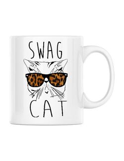 Cana personalizata Swag cat Alb