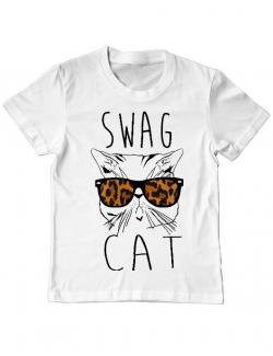 Tricou ADLER copil Swag cat Alb