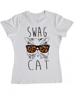 Tricou ADLER dama Swag cat Alb