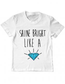Tricou ADLER copil Shine bright like a diamond Alb