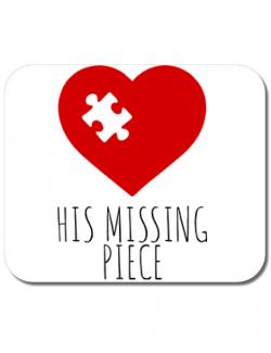 Mousepad personalizat His missing piece Alb