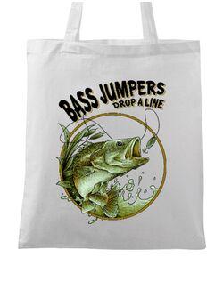 Sacosa din panza Bass jumpers drop a line Alb