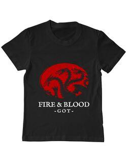 Tricou ADLER copil Fire and Blood Targaryen Negru