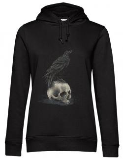 Hoodie dama cu gluga Crow skull Negru