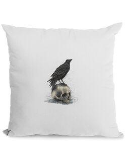 Perna personalizata Crow skull Alb