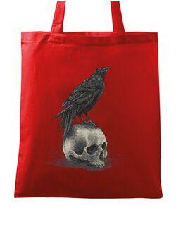 Sacosa din panza Crow skull Rosu