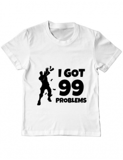 Tricou ADLER copil I got 99 problems Fortnite Alb