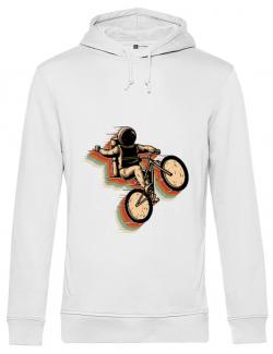 Hoodie barbat cu gluga Cycling space Alb