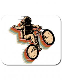 Mousepad personalizat Cycling space Alb