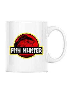Cana personalizata Fish hunter Alb