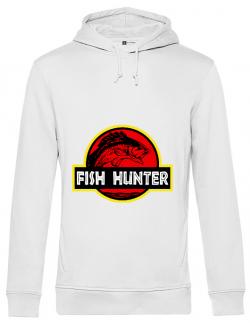 Hoodie barbat cu gluga Fish hunter Alb