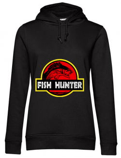 Hoodie dama cu gluga Fish hunter Negru