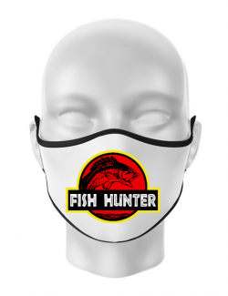 Masca personalizata reutilizabila Fish hunter Alb