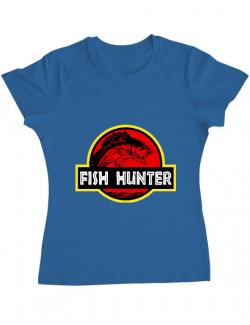 Tricou ADLER dama Fish hunter Albastru azuriu
