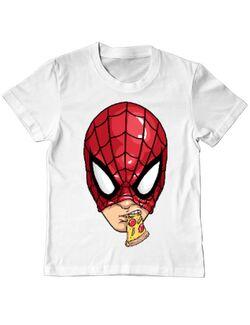 Tricou ADLER copil Spiderman pizza Alb