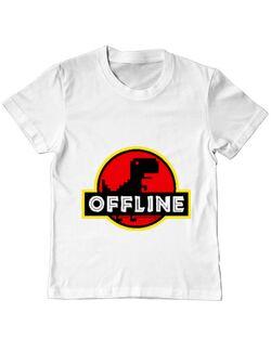 Tricou ADLER copil Offline Alb