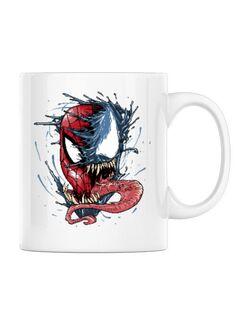 Cana personalizata Venom vs Spiderman Alb